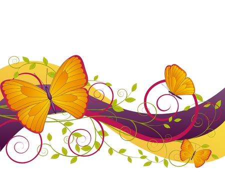 jardines con flores: tarjeta de decoración floral con ramas y mariposas