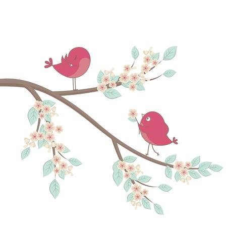 boom met vogels: Leuke roze vogels op een tak met bloemen