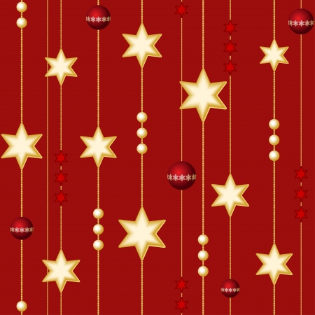 Seamless Christmas balls and stars on the red background Vector