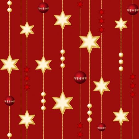 Seamless palle di Natale e stelle su fondo rosso Vettoriali