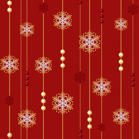 Red Christmas Seamless with beads and snowflakes Stock Vector - 11641328