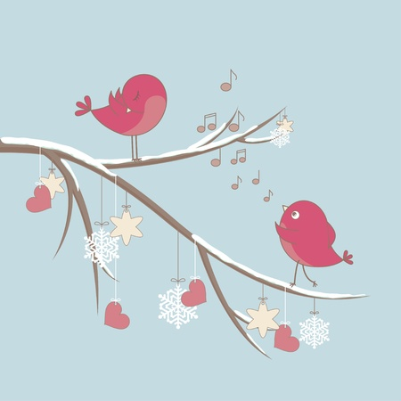 Cute pink birds on a branch with hearts and snowflakes.  Vector