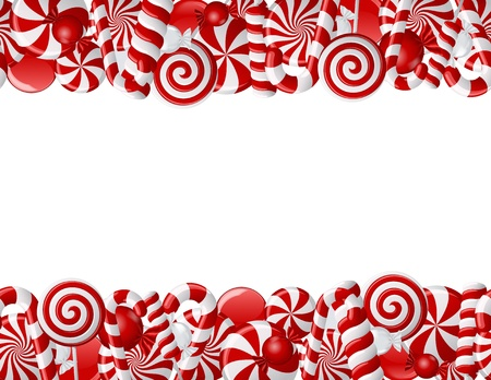 cane sugar: Frame made of red and white candies. Seamless pattern Stock Photo