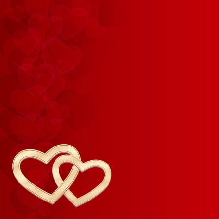 elegant red background with two gold hearts Stock Vector - 11838944