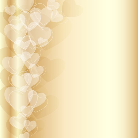 elegant luxury background with many golden hearts Vector