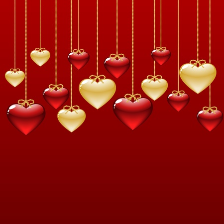 feb: elegant background with gold and red hearts Illustration
