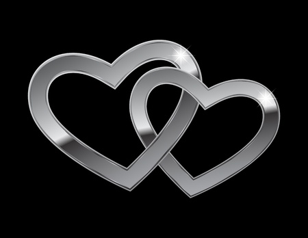 2 objects: Two hearts of steel on a black background
