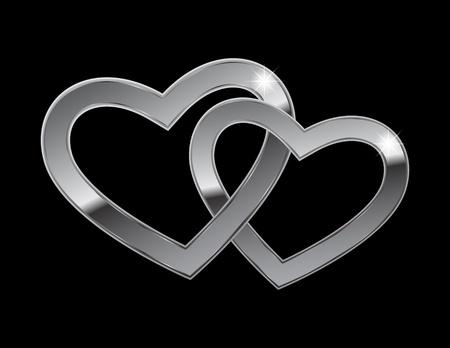 Zwei Herzen aus Stahl auf einem schwarzen Hintergrund