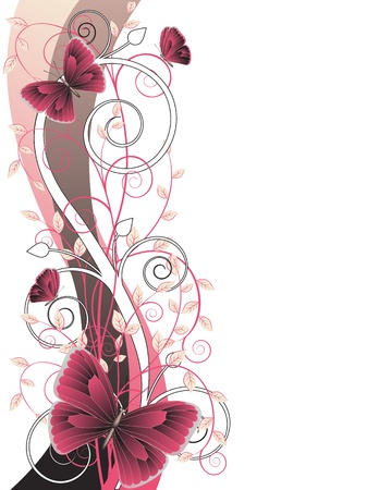 decorative floral card with  branches and butterflies Illustration