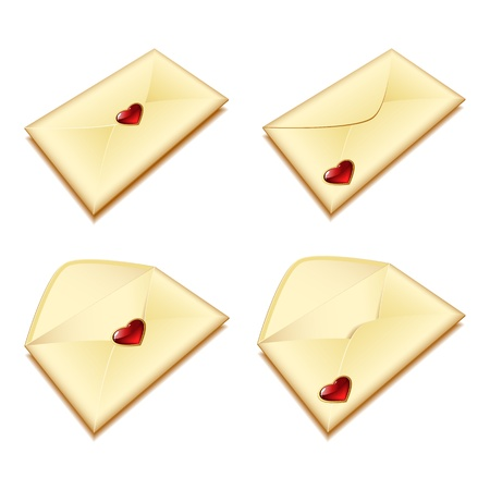 set of gold envelopes with a seal in the form of heart Stock Vector - 11910297