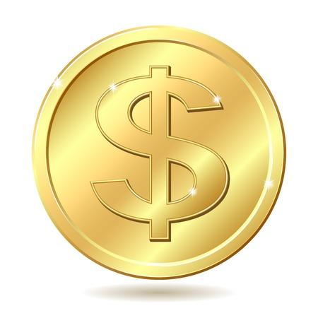 달러: 달러 기호 골드 동전입니다. 그림 흰색 배경에 고립
