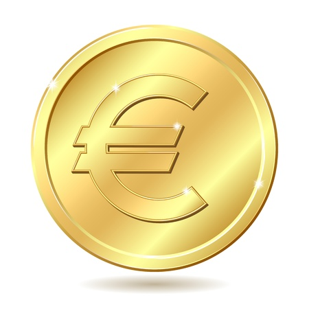 currency symbols: Gold coin with euro sign. illustration isolated on white background