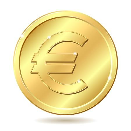 piece d or: Pi�ce en or avec le signe euro. illustration isol� sur fond blanc