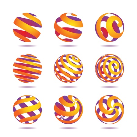 globe abstract: collection of abstract colored globe icons and symbols Illustration