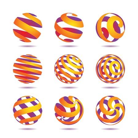 red sphere: raccolta di icone astratte, globi colorati e simboli
