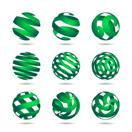 asymmetric: collection of abstract green globe icons and symbols
