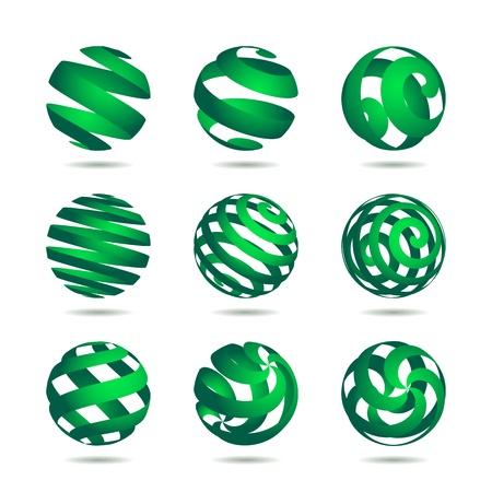 wereldbol groen: verzameling van abstracte Green Globe pictogrammen en symbolen