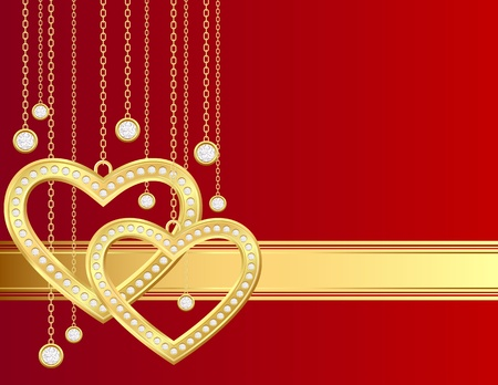 Card with golden heart and brilliants on a red background Vector