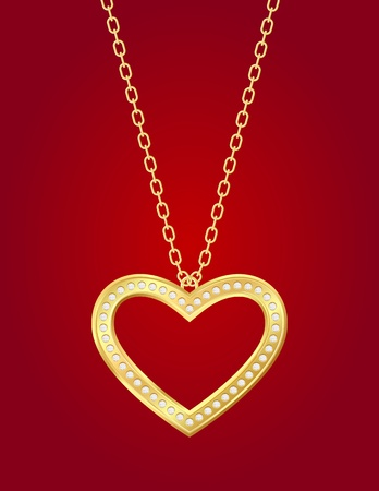 gold chain: Necklace with golden heart and brilliants on a red background