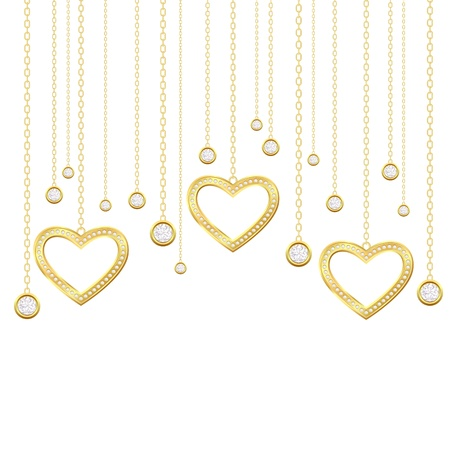 golden heart: Card with golden heart and brilliants on a white background