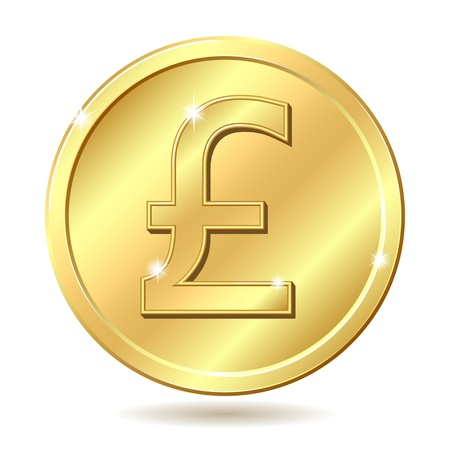 Gold coin with pound sterling sign. illustration isolated on white background Vector