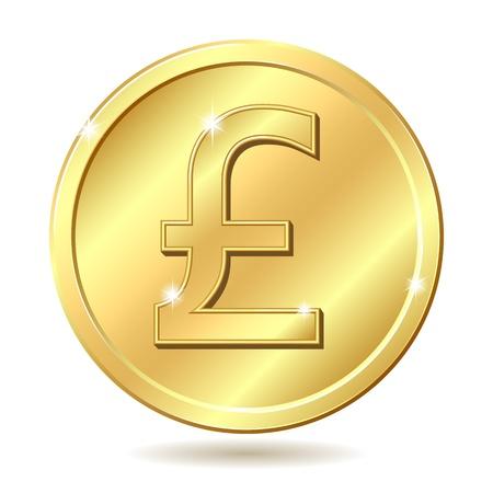 Pièce d'or avec un signe livre sterling. illustration isolée sur fond blanc