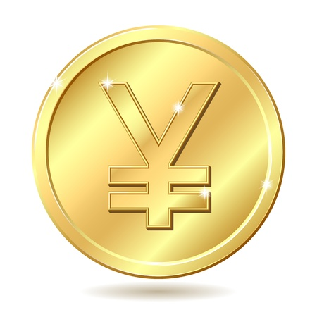 yen sign: Gold coin with yen sign. illustration isolated on white background Illustration