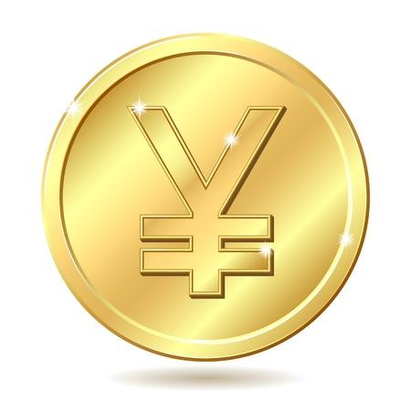 yen sign: Moneda de oro con signo yenes. ilustraci�n sobre fondo blanco