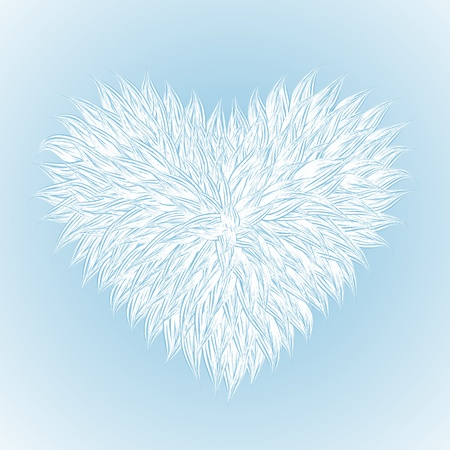Fluffy White Heart  on light-blue background. Vector illustration  Stock Vector - 12209185