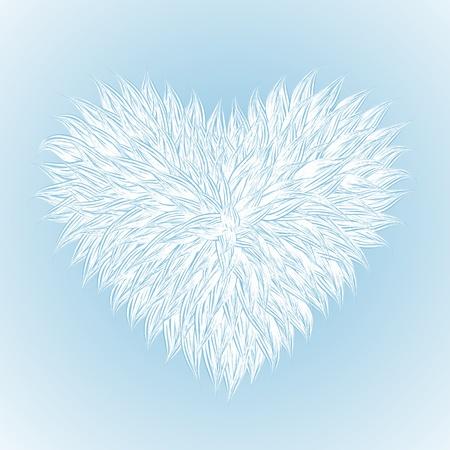 Fluffy White Heart  on light-blue background. Vector illustration Stock Vector - 12209185