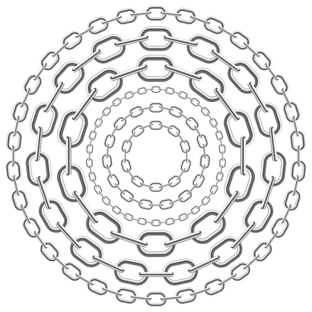 lock and chain: metallic circle chains isolated on white background. Vector illustration. Illustration