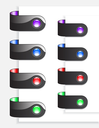 web Bookmarks with black borders for websites isolated on white Stock Vector - 12209190