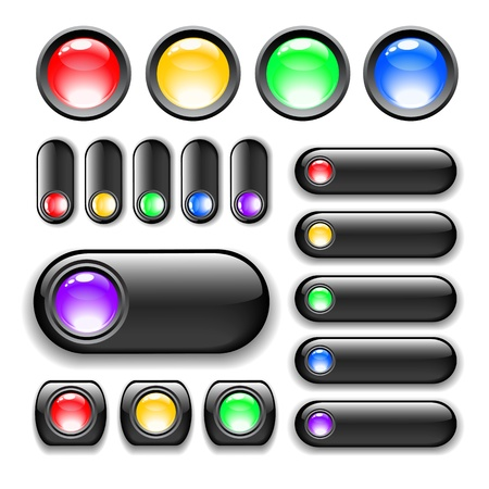 glossy web buttons with black borders for websites isolated on white Stock Vector - 12209191