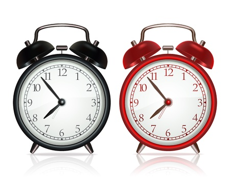 Black alarm clock and red alarm clock on white background  Vector