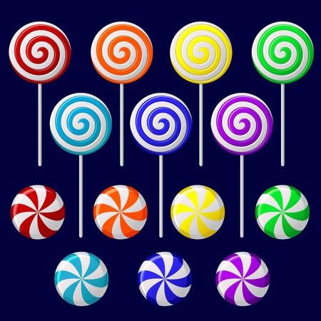 paletas de caramelo: Vector conjunto con los caramelos de colores sobre fondo oscuro