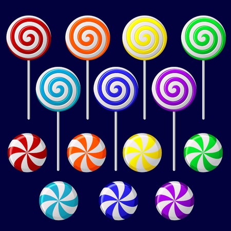 cane: Vector set with colorful candies on dark background