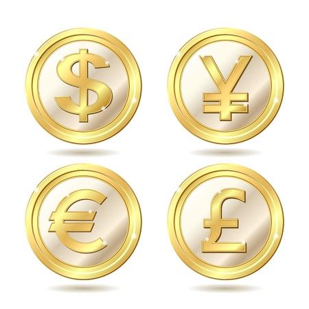 Ensemble de pièces de monnaie d'or avec le dollar, euro, livre sterling et yen signes .. Vector illustration isolé sur fond blanc