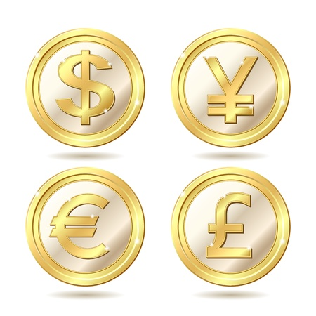 yen: Set of golden coin with dollar, euro, pound sterling and yen signs.. Vector illustration isolated on white background