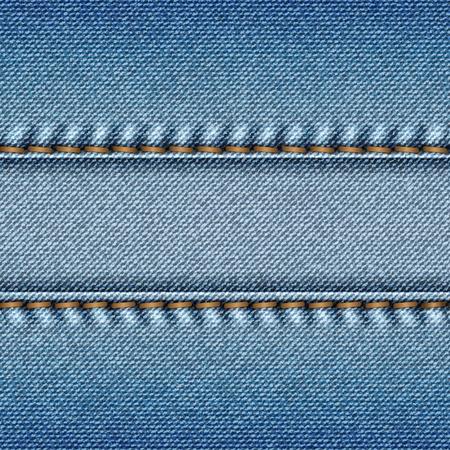 Realistische blauwe jeans textuur achtergrond. Vector illustratie.
