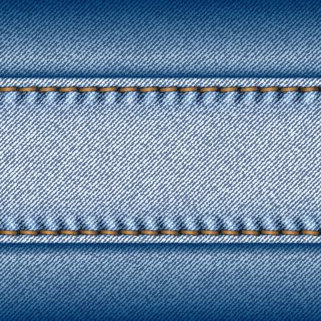 Realistic blue jeans texture background. Vector illustration. Illustration
