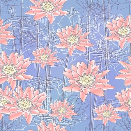 water lilies: De fondo sin fisuras con nen�fares en flor (Vector)