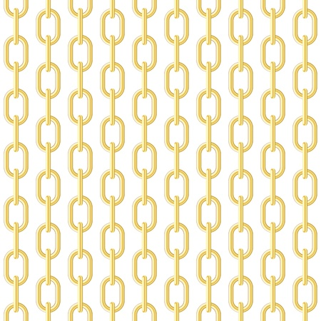 Gold chain on white seamless vector background. Illustration