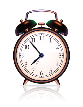analog dial: Brown metal classic  alarm clock on white background