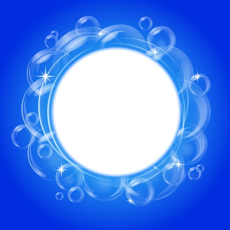 Blue abstract banner with transparent bubbles. Vector background. Stock Vector - 12209222