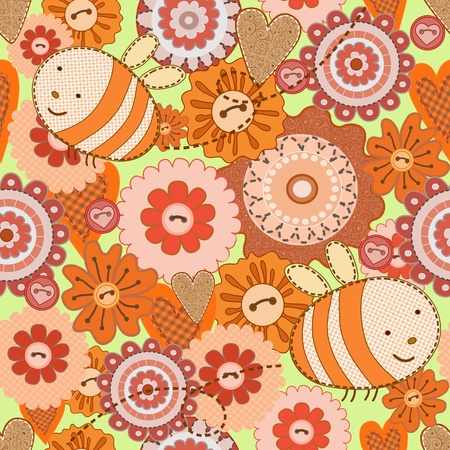 Cute bees fly over flowers meadowSeamless background Vector