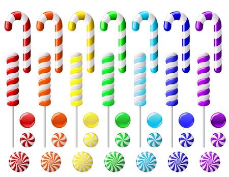 kemény: Vektor, állhatatos, színes cukorkák, fehér háttér