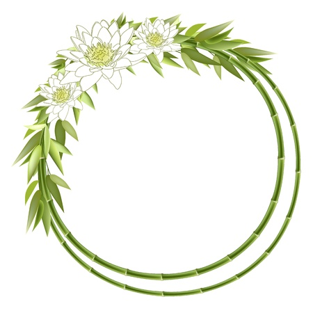 botanic: Bamboo round frame with lilly flowers. Vector background
