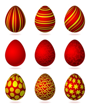 Set of colorful easter eggs, isolated on the white background