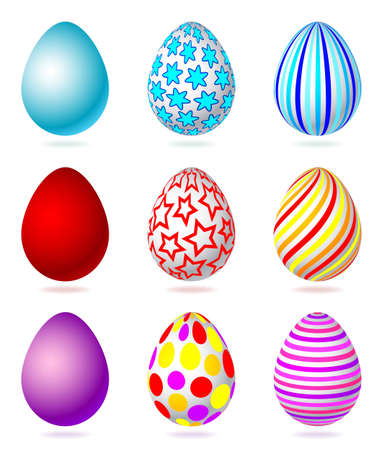 Set of colorful easter eggs, isolated on the white background Vector