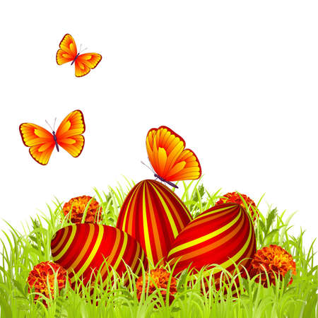 Three Easter eggs in the grass with flowers and butterflies Stock Vector - 12482788